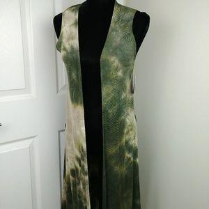 Lularoe Joy Duster Vest NWT green tan tie dye